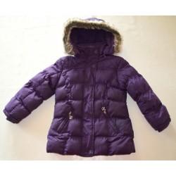 Kapucnis, polár béléses meleg kabát, szőrmés gallérral ( 116 cm )