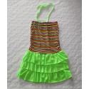 Spagetti pántos, csíkos kislány ruha (10 év)