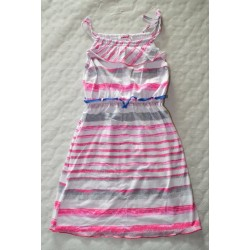 Spagetti pántos, csíkos kislány ruha (140 cm)