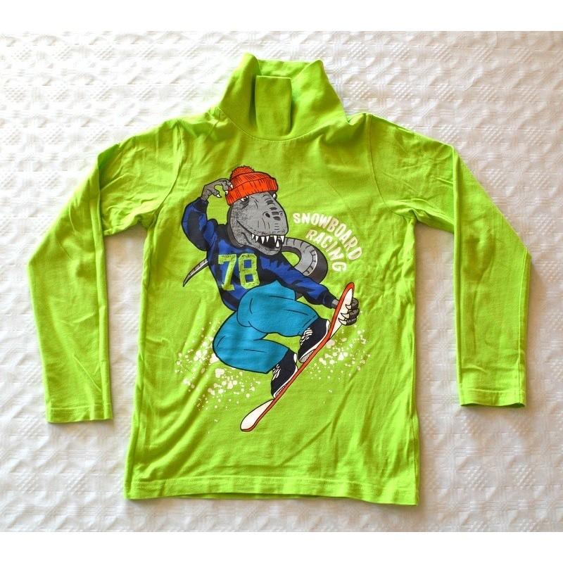 Fiú pulóver. Zöld dínós (128 cm)
