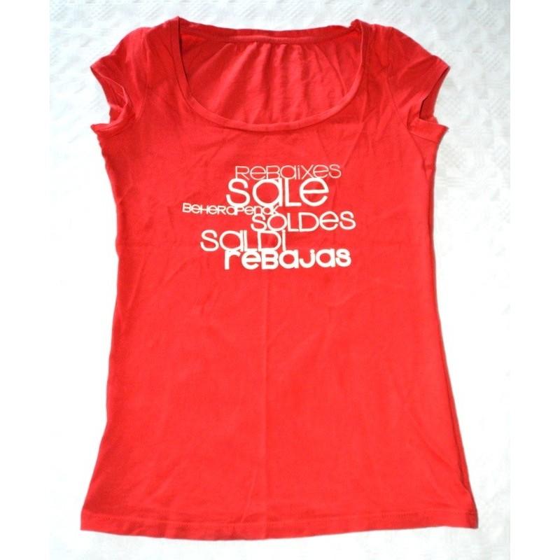 Női piros póló felirattal ( S-M )