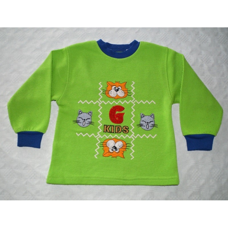 Fiú zöld cicás pulóver. (80-86cm)