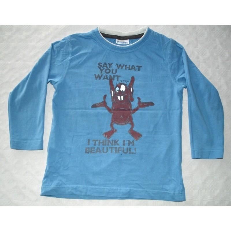Fiú kék mintás pulóver ( 116 cm)