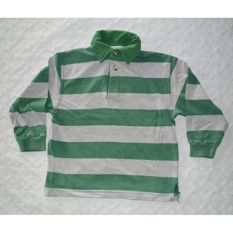 Fiú zöld csíkos galléros pulóver ( 110-116 cm)